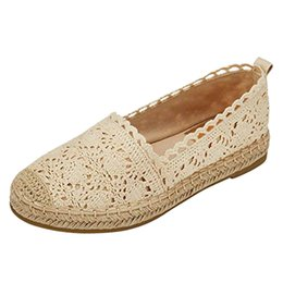 $enCountryForm.capitalKeyWord Australia - woman sandals 2019 summer Ladies Sole Hollow Floral Lace Ankle Flat Canvas Round Toe Breathable Shoes Soft Bottom Comfortable