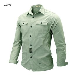 Discount collared v neck shirts mens - Plus Size 4xl Mens Shirt Solid Color Basic Button Casual Long Sleeve V-Neck Shirts Men 2019 Tops Army Green Shirts Stree