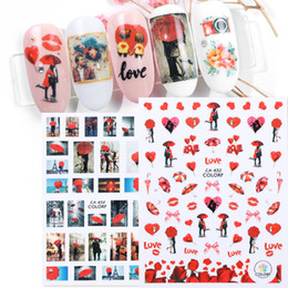 Valentine Lip Australia - 3D Nail Art Stickers Adhesive Decals Lover Lips Flower Valentine Designs Slider Foil French Manicure Nail Decoration TRCA428-436