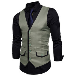$enCountryForm.capitalKeyWord NZ - New Mens Slim Fit Single Breasted Suit Vest Gilet Homme Costume 2019 Casual Covered Edge Design Men Vest For Wedding Party Xxl