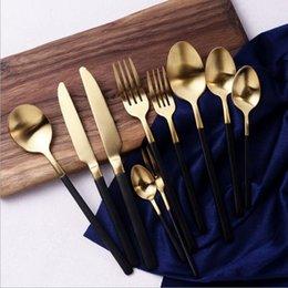Luxury Stainless Steel Cutlery NZ - Luxury Stainless Steel Set Black Handle Cutlery Set Matte Gold Knife Fork Dinnerware Tableware C18112701