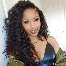 Big Black wigs online shopping - Curly Human Lace Front Wig HD Transparent Invisable Undetectable Long Black Color Glueless Mongolian Virgin Curly Human Hair Full Lace Wigs