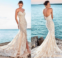 sexy open back beach wedding dresses Australia - New Arrival Luxury Beach Mermaid Wedding Dresses Sweetheart Lace Appliques Sexy Open Back Front Split Sweep Train Plus Size Bridal Gowns