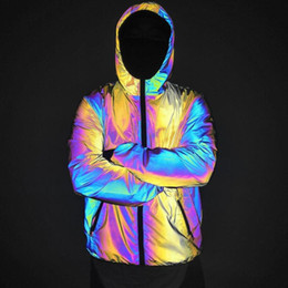 Wholesale women s reflective jacket for sale – winter Colorful Hooded Reflective Jacket Men Women Brand Mens Jackets and Coats Night Fluorescen Windbreaker Chaquetas Hombre XXXL