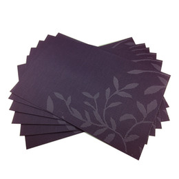 decorative table mats NZ - Set of 6 PVC Vinyl Purple Beautiful leaf pattern Decorative Placemats for Dining Table Place Mat in Kitchen Cup Beer Mat T200702