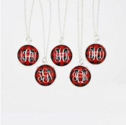 $enCountryForm.capitalKeyWord Australia - Personalized Red Plaid Pendant Necklaces Personalized Rosary Chain Pearl Monogram NecklaceMonogram Engraved