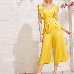 Yellow Party Jumpsuit Australia - Women Sleeveless Jumpsuit Yellow Solid Casual Club Party Loose Style Comfortable Long Jumpsuit 2019 New Ladies Rufffles Playsuit