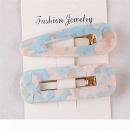 leopard jewelry accessories UK - 2pcs Vintage Hair Clip For Women Leopard Marble Textured Geometric Water Drop Square Duckbill Barrette Hair Jewelry Accessories