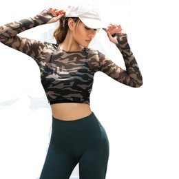 Wholesale long sleeve cropped tee online – design Women Sexy Sports Top Yoga Shirts Fitness Crop Long Sleeve tee camouflage see through look Running T shirt Gym Sportswear