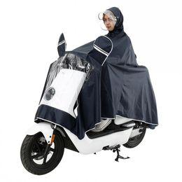 Bicycling Gear UK - SENNLLJUNG Men Women Impermeable Electromobile Bicycle Rain Poncho Thick Raincoat Double Transparent Hood Rain Gear Coat