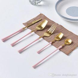 $enCountryForm.capitalKeyWord NZ - NEW High-grade Gold Cutlery Flatware Set Spoon Fork Knife Tea Spoon Stainless Steel Dinnerware Set Luxury Cutlery Tableware Set wn678 50set