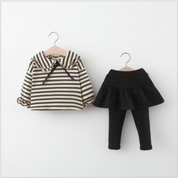 hot spring outfits Australia - Spring Fall 2020 New Hot Sale Baby Girls Clothing Sets Kids Striped Long Sleeve Tops+Bottoming Skirt 2pcs Sets Children Suit Girl Outfits