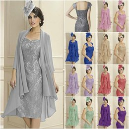 $enCountryForm.capitalKeyWord Australia - Mother of The Bride Dresses Two Pieces Chiffon Jackets Knee Length Sheath Lace Mothers Dresses For Wedding Events Prom Evening Dresses