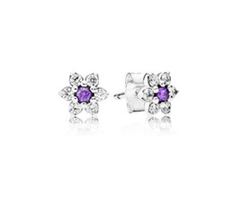 $enCountryForm.capitalKeyWord UK - Compatible with European Jewelry Forget Me Not Silver Stud Earrings With Purple &Clear CZ 925 Sterling Silver Jewelry DIY FE231