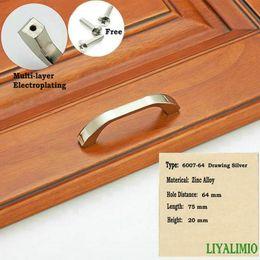 silver kitchen door handles 2019 - 6007-64 Drawing Silver Simple Pastoralism Modern Door Handles Kitchen Knobs Furniture Hardware Wardrobe Cupboard Handle