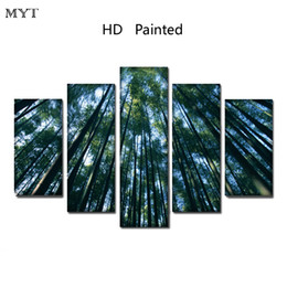 bamboo painted wall rooms 2019 - Sunlight Green bamboo scenery High Quality HD Printed 5 Pieces big size Canvas Wall Art pictures for living room Home De