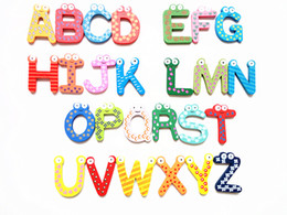 fridge word magnets NZ - Wooden cartoon fridge magnets Creative English words magnet set Baby early education magnetic stickers (26pcs set)DL_HG014