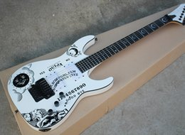 Floyd Rose White Australia - White Electric Guitar with Moon goddess Pattern,Floyd Rose,Star Fretboard Inlay,Black Hardwares,offering customized services