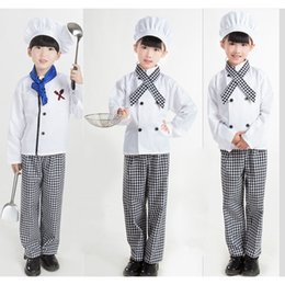 uniform boy girl Australia - Kids Chef Uniform Cook Cosplay Costumes Halloween Party Wear Fancy Children Clothing Set Boys Shirt with Cap Baby Girls Clothes