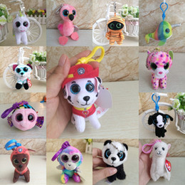 Big eye monkey plush online shopping - Cute Ty Big Eyes Keychain Doll Animal Monkey Leopard Unicorn Big Glitter Eyes Keychain Clip Plush Car Keyring Toy Baby Kids Gift M123Y