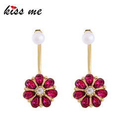 korean luxury glasses NZ - Red Champagne Glass Crystal Flower Earrings For Women Korean Fashion Simulated Pearl Drop Earrings Luxury Jewelry
