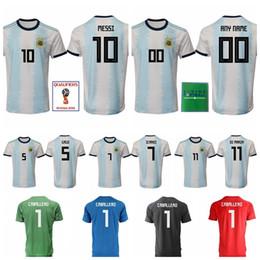 844097de7 2018 World Cup Argentina Jersey National Team Soccer 10 MESSI Football Shirt  Men 11 DI MARIA 14 MASCHERANO 19 KUN AGUERO 9 HIGUAIN