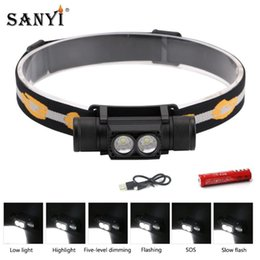 headlamps for hunting UK - Sanyi 3W XM-L2 LED Headlight Mini White Light USB Charging 18650 Headlamp Forehead Torch For Camping Fishing Hunting