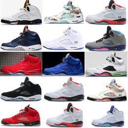 gold bonds Australia - New 5 5s V Men Basketball Shoes olympic OG metallic Gold Tongue Black Metallic red blue Suede Fire Red Space Jam Sport Sneakers
