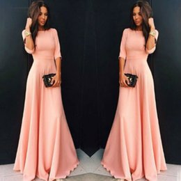 long sleeve maxi dresses Australia - Maxi Dress Formal Womens Chiffon Long Sleeve Evening Long Party Ball Gown Women Long Sleeve Dress Pink Blue Designer Clothes