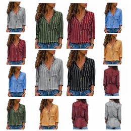$enCountryForm.capitalKeyWord Canada - 2019 new classic fashion striped lapel long sleeve pocket button shirt, multi-color multi-code, support mixed batch
