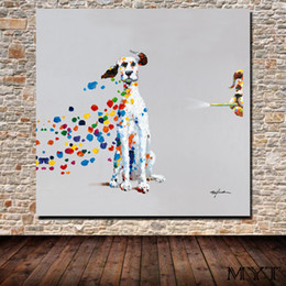 Canvas Prints Free Shipping Australia - Free shipping HD printed animal two dogs playing Wall art Picture Home Decor for Living Room on Canvas Printing Oil Painting no framed