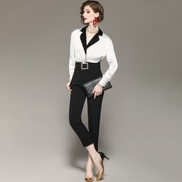 $enCountryForm.capitalKeyWord Australia - New 2019 spring summer office wear black sequin collar white satin tops and blouse + high-rise skinny pant suit two piece set