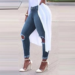 stylish trousers women 2019 - Stylish Women Hole Jeans Autumn Slim Tassel Ankle Pants Lady Casual Ripped Denim Pencil Pant Stretchy Long Trousers Wild