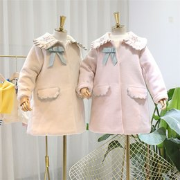 princess line winter long coats UK - Girls woolen trench coat kids floral embroidered falbala lapel princess outwear winter children Bows tie long sleeve thicken overcoat J0372
