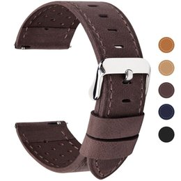 18mm watch bracelet Australia - 5 Colors For Quick Release 22mm Watch Band, Calf Leather Replacement Band Breathable Watch Strap 18mm 20mm 22mm 24mm Y19052301