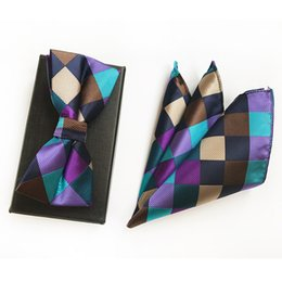 $enCountryForm.capitalKeyWord Australia - Classic Navy Dot Christmas Gift Wedding Silk Bow Ties with Hanky Set Ties for Men DIY Design Mens Pocket Square Gravata Bowties