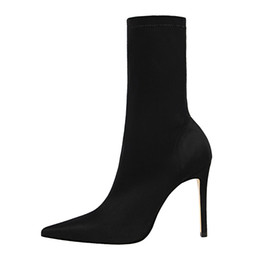 54f08ac10e 2019 Ankle Sock Boots Thin Heel High Heels Elastic Ankle Boots Pointy Toe  Women Shoes Sexy Party Ladies Comfort Boots