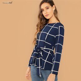 navy chiffon blouse women Australia - Blouse Kimono Sleeve Casual Modern Lady Navy Self Belted Grid Round Neck Long Sleeve Plaid Pullovers Top Women Autumn Weekend