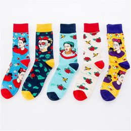 indian cotton wholesalers UK - Man character fashion jacquard socks Combed cotton causal happy socks Mid-calf colorful socks with indian figure