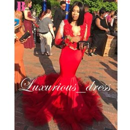Red Mermaid Dresses Feathers Australia - Red Feather Mermaid Long Prom Dresses 2019 with Long Sleeve Appliques Beading Pleat Bottom Africa Evening Gowns Sexy Satin Party Dress