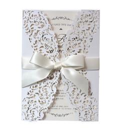 White Invitations Cards Australia - New land Wedding Invitation Card Hollow White Pink Invitations Pocket Laser Cut Hollow Invitations Cover Wedding Invitations