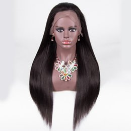 Banks Hair UK - Slayedwig Silky Straight 250% Density Full Lace Human Hair Wigs For Women Lace Wigs Pre-Plucked Brazilian Natural Color Hair