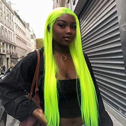 "$enCountryForm.capitalKeyWord Australia - Sexy Cosplay 24"" Fluorescent Green Silky Straight Synthetic Lace Front Wigs Middle Parting 180% Density Heat Resistant Fiber Hair for Woman"