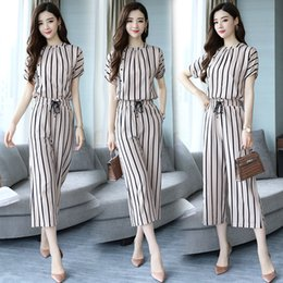 Two Piece Casual Pants Sets Woman Australia - Summer New 2019 Women Fashion Stripe Two Pieces Sets Female Round Neck Tops and Ankle Length Pants Sets Woman Casual Suits T5190610