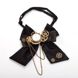 Steampunk bow online shopping - Black Steampunk Bow Tie Vintage Industrial Victorian Lolita Punk Gear Bow tie Bow knot Unisex Accessory