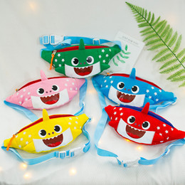 Wear baby online shopping - Baby Shark Inclined Shoulder Bag Candy Color Canvas Trumpet Wear Resistant Children Fashion Storage Bags Party Favor mg E1