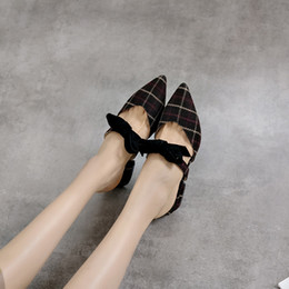 Black Blocks Australia - YMECHIC Flock Plaid Pointed Toe Womens Heels Shoes Bowtie Butterfly-knot Black Chunky Block Heel Mules Plus Size Ladies Pumps