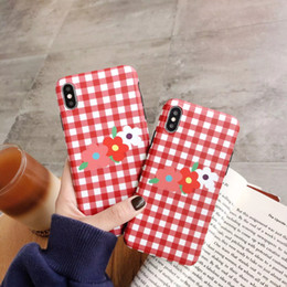 rubber flowers NZ - Cute Red Gird Flowers Soft Silicone Rubber Bumper Protective Gel Case for iPhone X, Protective Flexible TPU Cover with Bumper Anti Scratch
