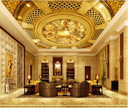 stereo painting Australia - Custom Any Size 3D Stereo Golden Dragon Orb Ceiling Murals Wallpaper Living Room Wall Papers Home Decor Modern Wall Painting
