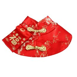 chinese wholesale sunglasses UK - Chinese Style Tang Dynasty Dress Festival Cloak With Red Envelope For Kitten Yorkie Puppy New Year Cloak Clothes Party Costume Dog Apparel